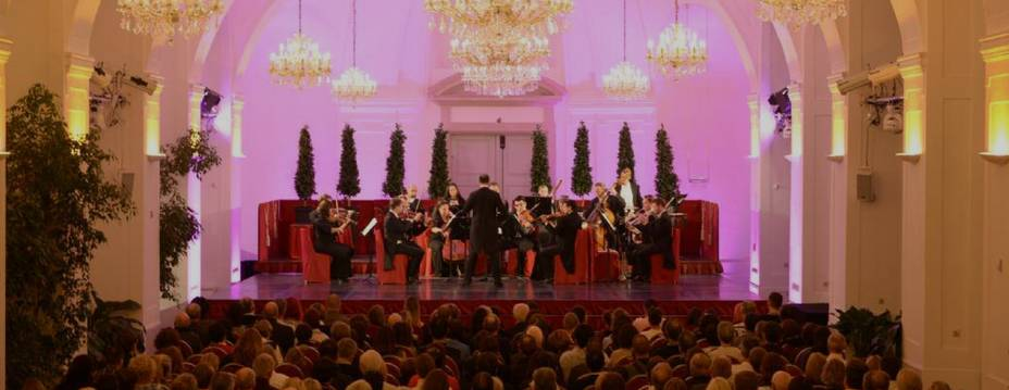 The Schoenbrunn Palace Orchestra during a classical concert in the Schoenbrunn Orangery Vienna. The concert is part of the package which you can book here online