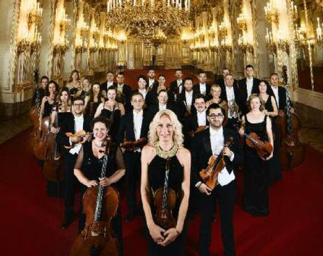 The complete Schoenbrunn Palace Orchestra. In a hall at Schoenbrunn Palace Vienna