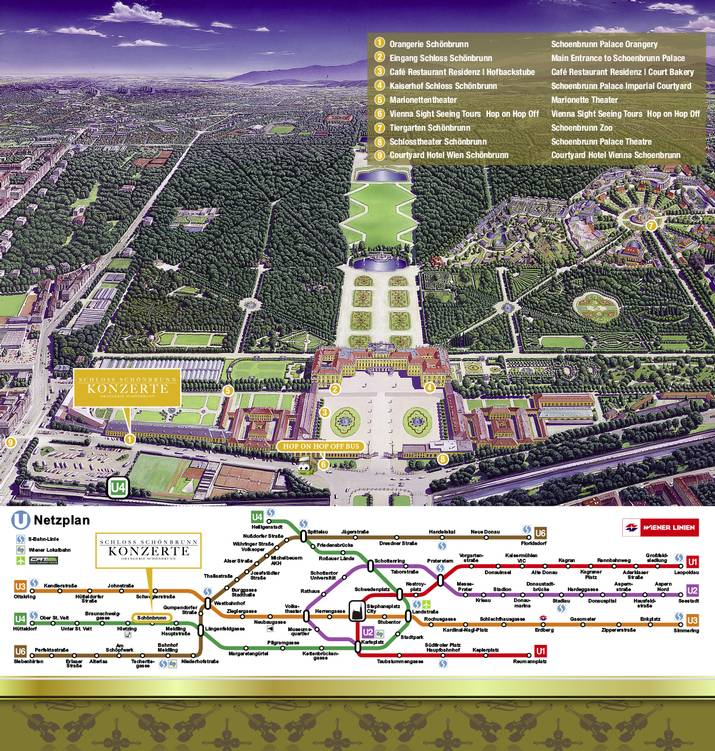 The site plan shows Schoenbrunn Palace. The Schoenbrunn Palace concerts are marked in the left wing of the Orangery where the classical concert takes place every night. Underneath is the underground map with the stop to exit for the concert