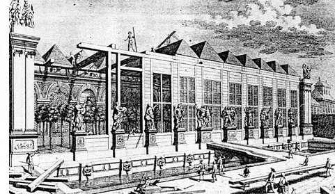 A historical illustration indicating how the Orangery Vienna was built. Some parts of the Orangery are completed, others are still under construction