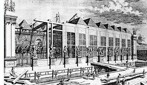 Una ilustración antigua muestra cómo se construyó la Orangerie de Viena. Pueden verse partes de la Orangerie terminadas y otras en construcción
