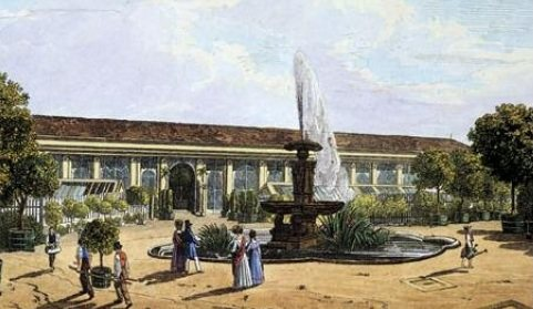 A painting presenting the garden of the Orangery Vienna. The background shows the Orangery Vienna with people promenading as well as workers carrying plants of the Orangery to their spot