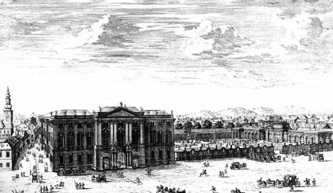 An old illustration presenting buildings and people