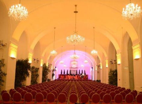 The empty concert hall in the Schoenbrunn Orangery, venue of the nightly classical concerts of the Schoenbrunn Palace Orchestra performing music by Mozart and Strauss