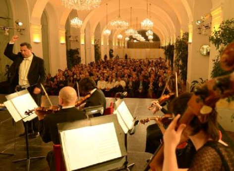 Part of Schoenbrunn Palace Orchestra during a performance of classical music in the Schoenbrunn Orangery
