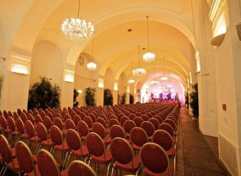 The Orangery Vienna - inside view with concert seating arrangement, before the concert audience begins to arrive