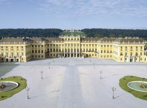 Schoenbrunn Palace Vienna, with the park in front. The photo was taken from the hill of the gloriette