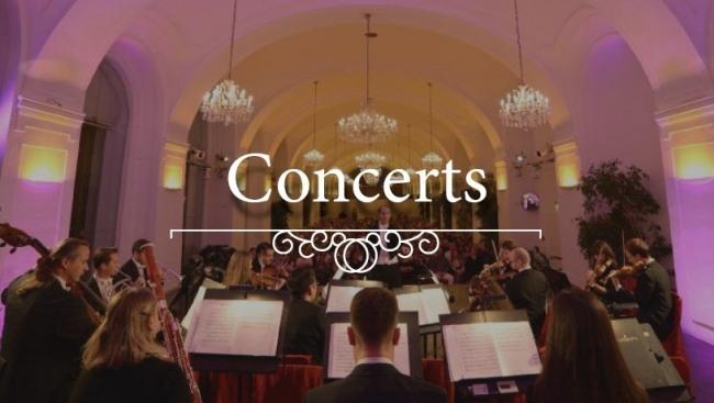 Vue de l'orchestre lors d'un concert classique à l'Orangerie du château de Schönbrunn à Vienne