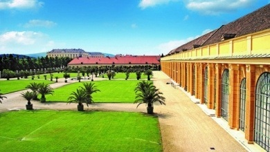 Schoenbrunn Palace Vienna - the Schoenbrunn Orangery to the right and the view from the garden in front of the Orangery where the concerts take place