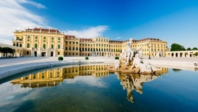 Schoenbrunn Palace Vienna on a summer day. View of the palace from the fountain
