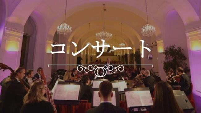ウィーン・シェーンブルン・オランジェリーでのクラシックコンサートでオーケストラから見た光景。